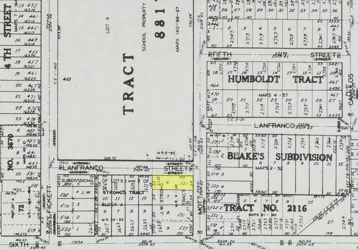 """The Rojas family compound – located across the street from Roosevelt High School at the intersection of Lanfranco and Mott – is highlighted in yellow in this 1958 map from """"The New Los Angeles Plat Book,"""" courtesy of the USC Libraries."""
