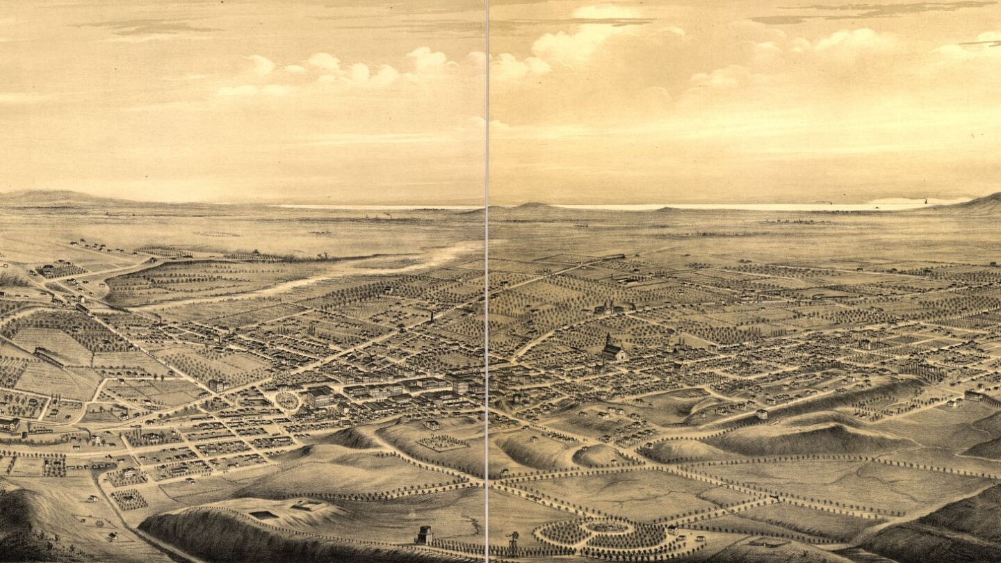 Angeleño Heights (1909 lithograph)