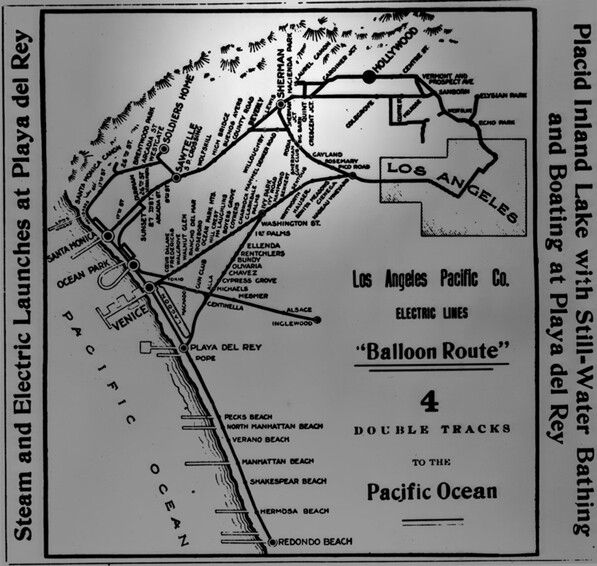 1910 map of the Los Angeles Pacific Railway's Balloon Route. Sherman was located at roughly the midpoint between Los Angeles and Santa Monica. Courtesy of the Title Insurance and Trust / C.C. Pierce Photography Collection, USC Libraries.