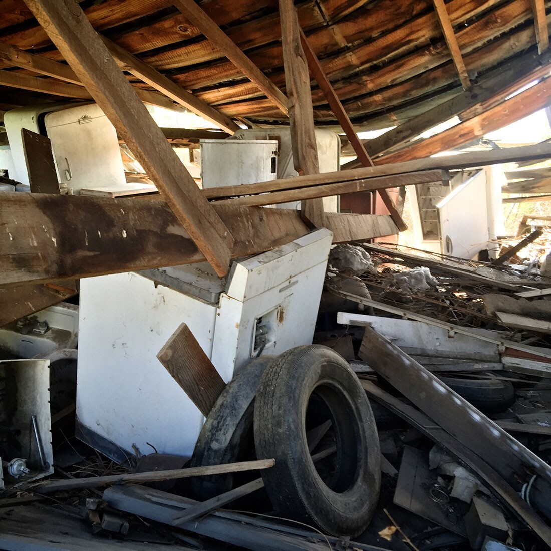 Collapsed Building withHoarded Appliances and Tires - Bishop, CA -2016   Osceola Refetoff