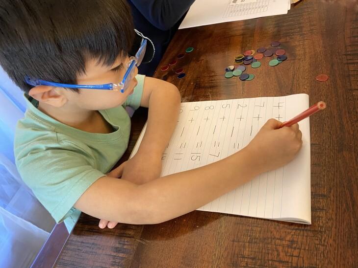 Mason Nguyen, 4, practices his math skills at home. | Courtesy Mayelle Nguyen