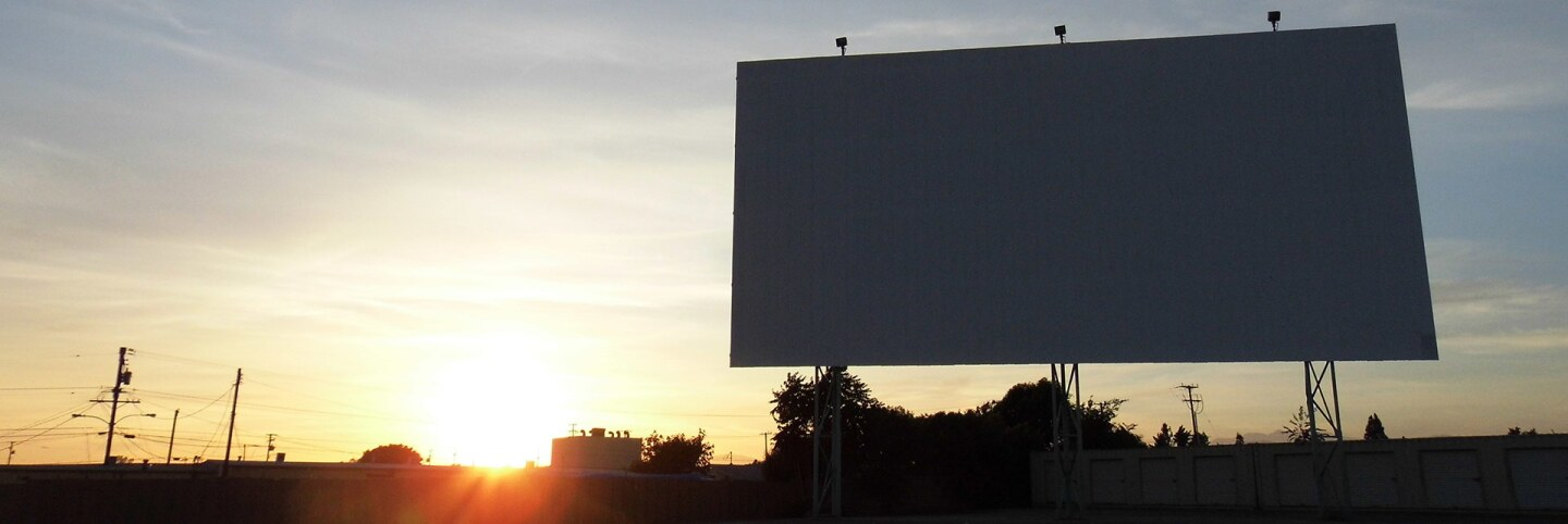 The screen at Mission Tiki Drive-In | Sandi Hemmerlein