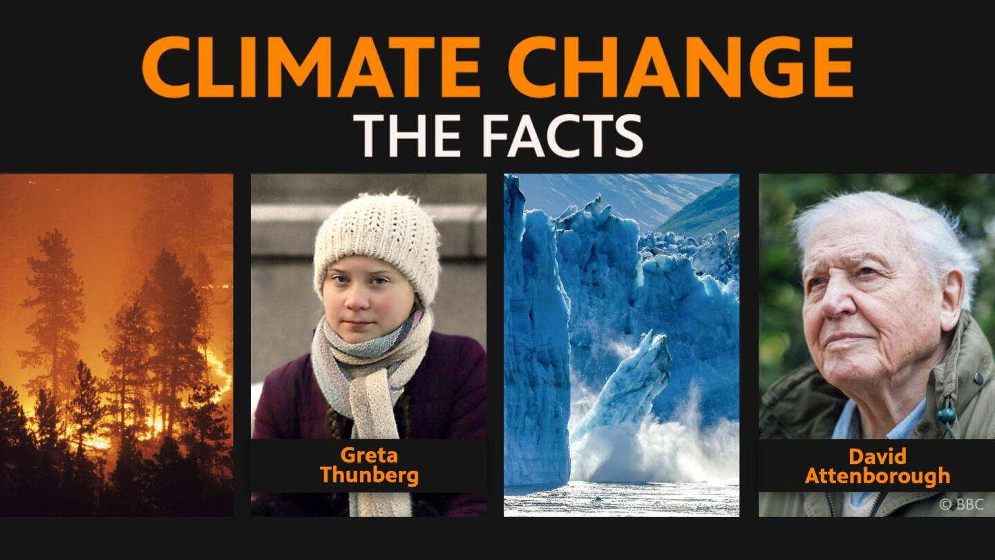 """Promotion image for """"Climate Change: The Facts"""" featuring Greta Thunberg and host Sir David Attenborough."""