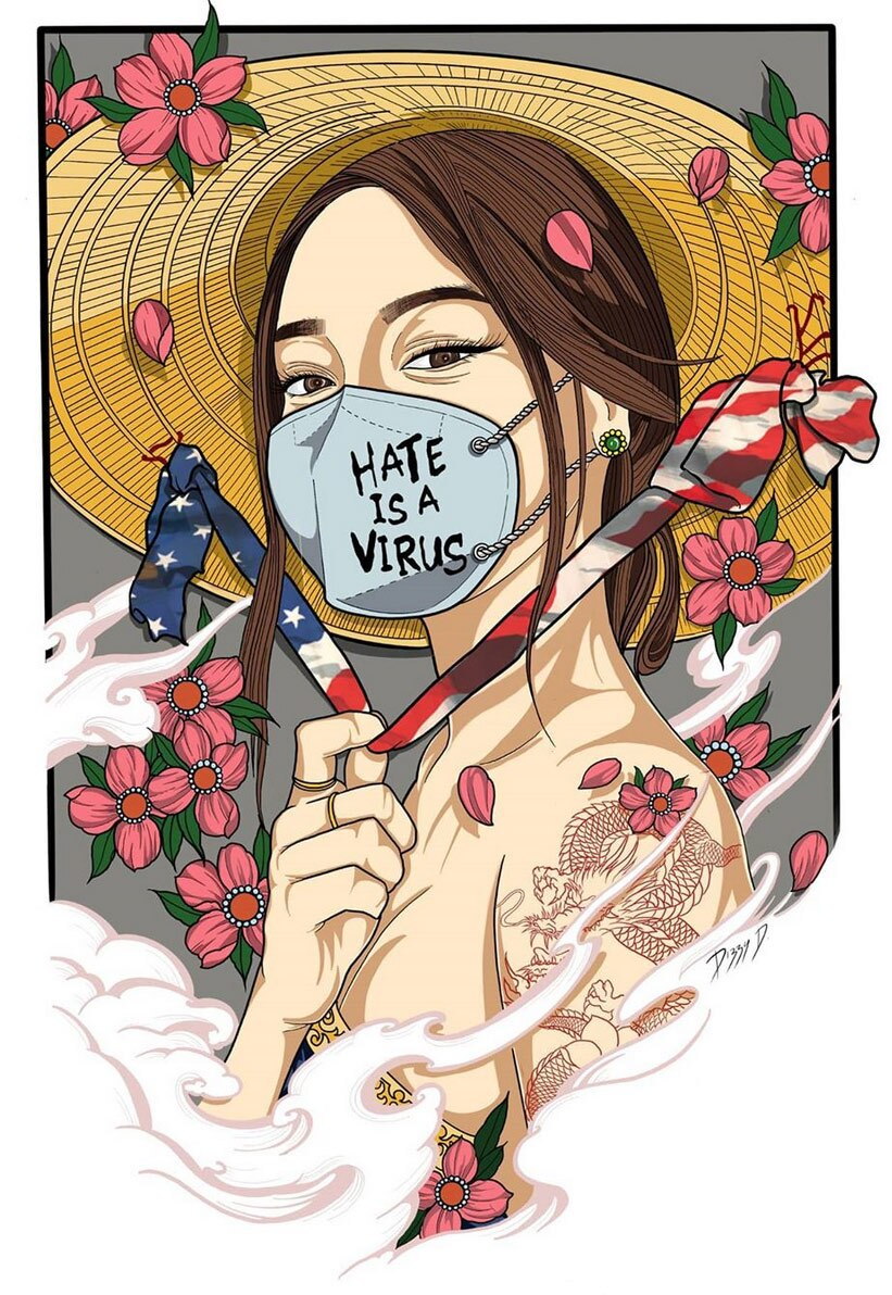 """A Vietnamese-American woman wears a Vietnamese non la hat and a face mask that says, """"Hate is a virus."""""""