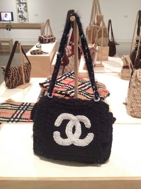 "Stephanie Syjuco's ""The Counterfeit Crochet Project"" in ""Alien She."" | Photo: Liz Ohanesian"