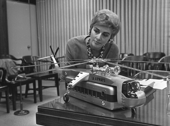 """Model of a """"flying bus"""" considered for transporting passengers between Union Station and LAX. UCLA Young Research Library / Los Angeles Times Photographic Archive"""