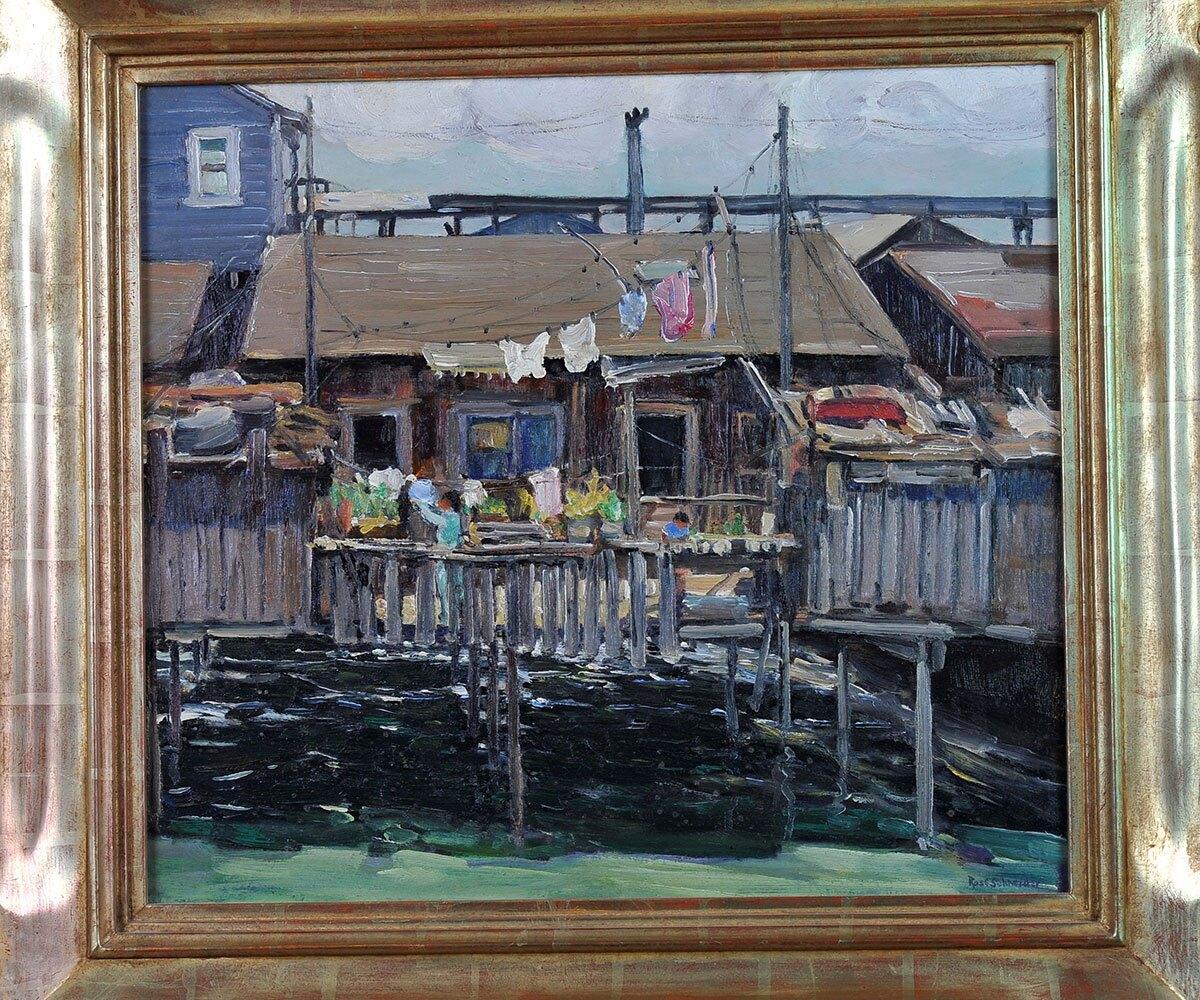 "Rose Schneider, ""Untitled-Shacks,"" San Diego Harbor, 1935, oil on canvas | Courtesy Maurine St. Gaudens. Photos Martin A. Folb"