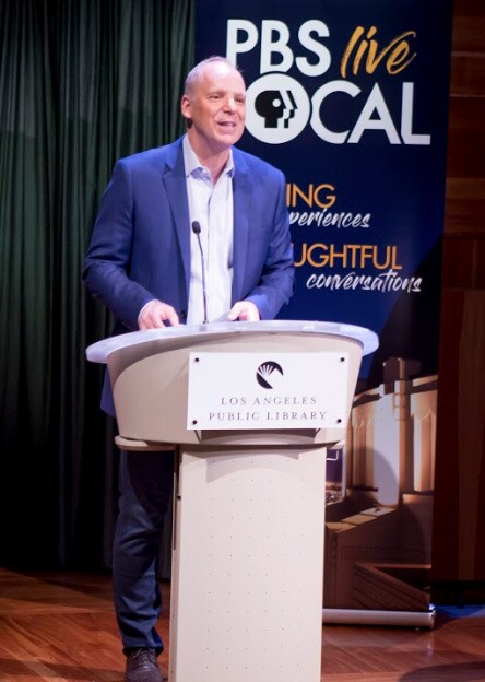 PBS SoCal/KCET CEO, Andrew Russell, welcomes guests to PBS SoCal/KCET's DODGERS STORIES: 6 DECADES IN LA screening and panel discussion at the Los Angeles Central Library on November 23, 2019.