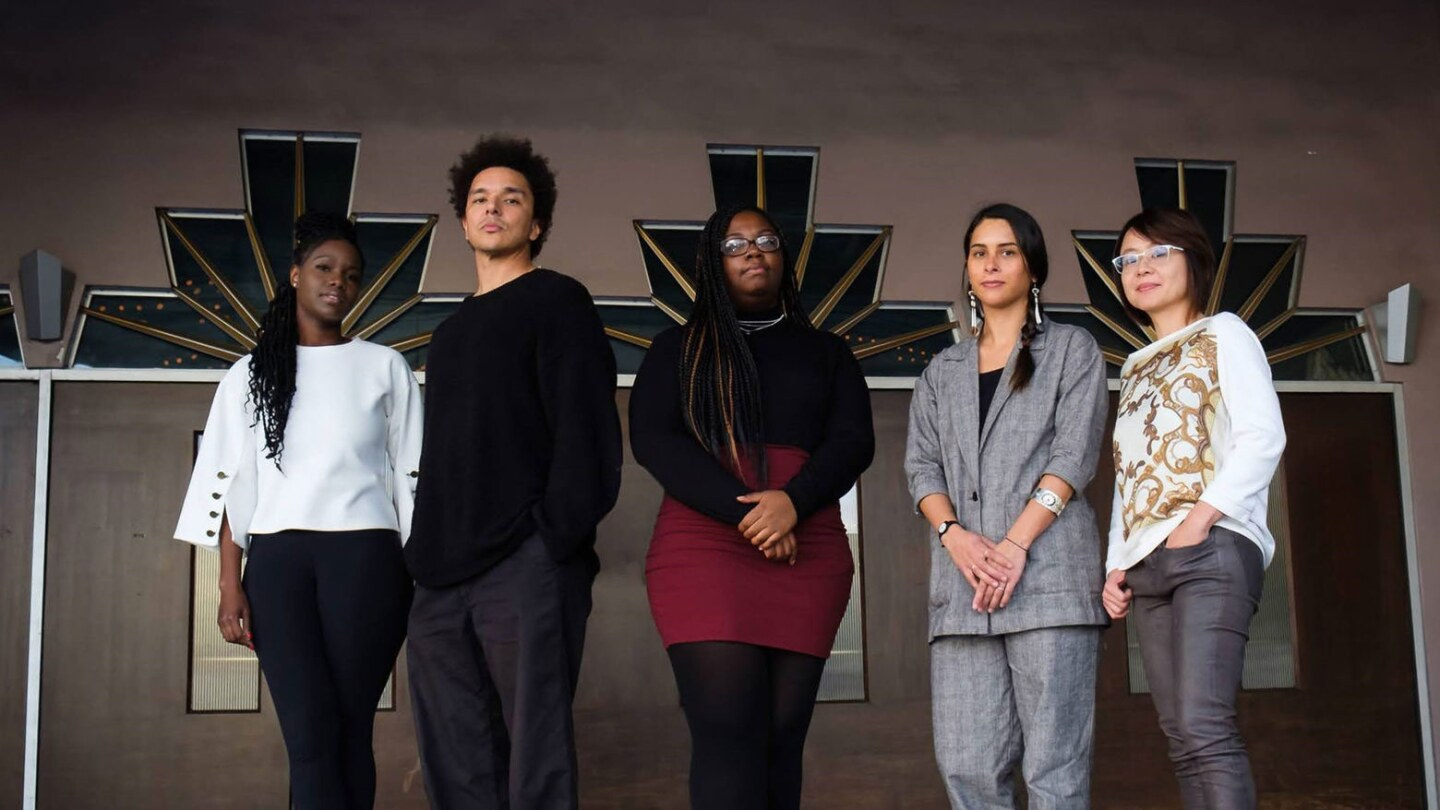 The 2020 PEN Emerging Voices Fellows are: M. Kiguwa, Damien Belliveau, Shannon Gatewood, Megan Dorame and Claire Lin. | Photo by Khalid F. Courtesy of PEN USA.