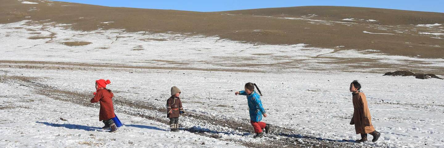 Kids playing on the countryside of Mongolia.  | Shanshan Chen/Thomson Reuters Foundation