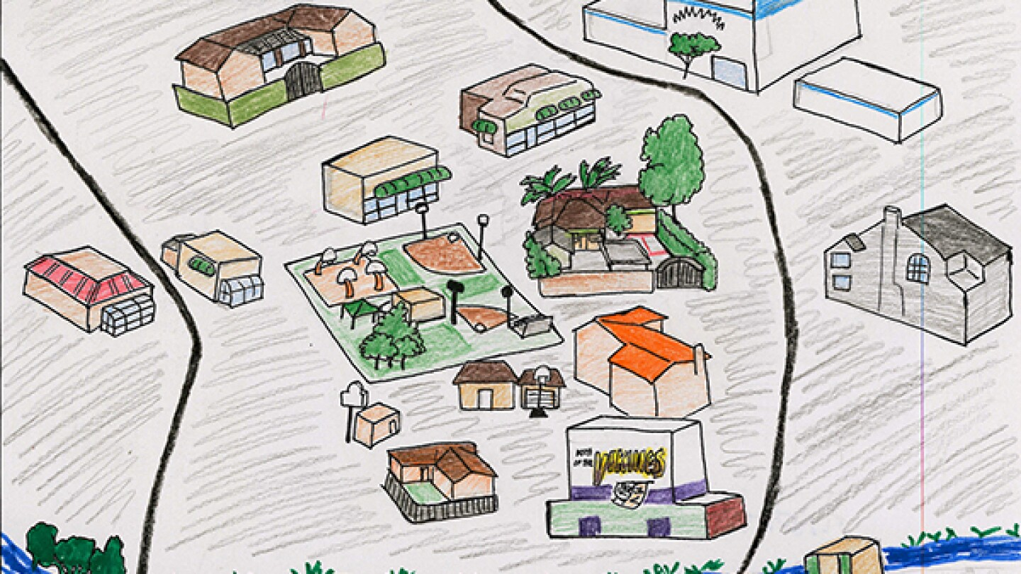 The first layer of Andres' neighborhood map.