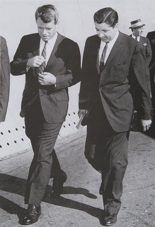 Rubén Salazar with Robert Kennedy, Los Angeles, CA, 1960 | Rubén Salazar (1928-1970) Papers, USC Libraries Special Collections