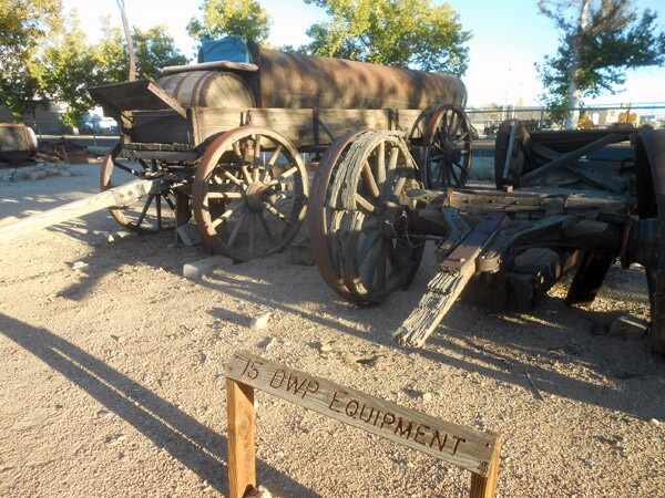 Century-old Aqueduct construction wagons are on display at the Eastern California Museum in Independence.