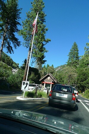 The entrance to Yosemite National Park on Highway 140.