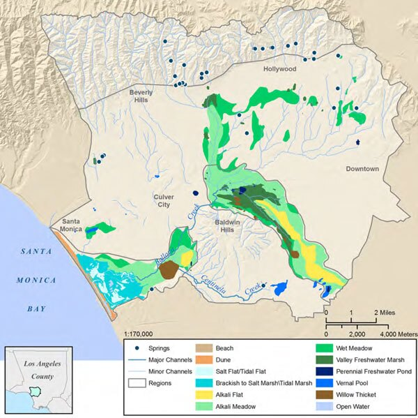 Map from the Ballona Creek Watershed Historical Ecology Project's report showing the locations of historical wetlands in the Ballona Creek watershed.