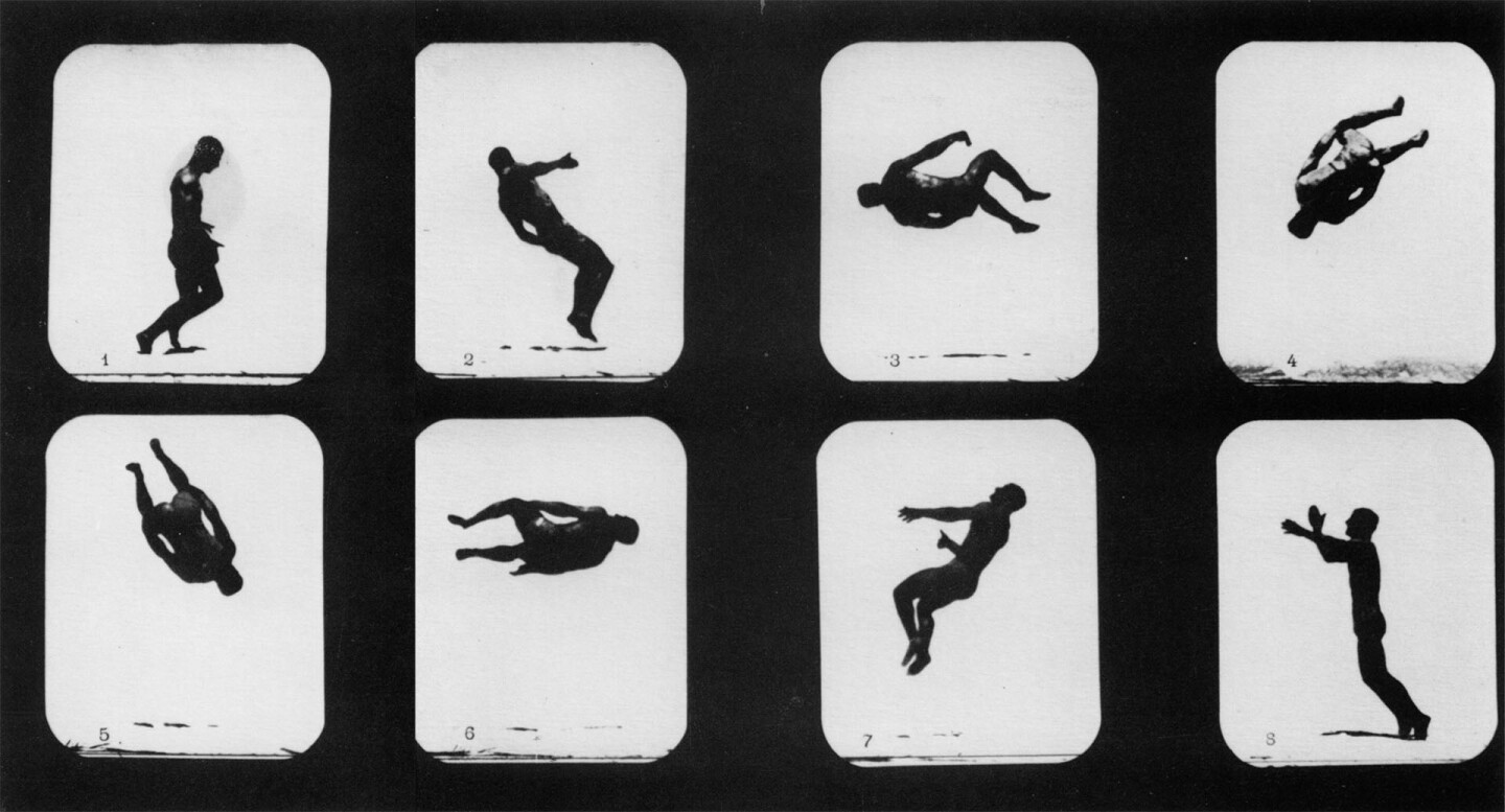 """""""Mr. Lawton, Back Somersault,"""" the first human being to appear in motion pictures. Eadweard Muybridge, Photographs, Stanford University Museum of Art"""