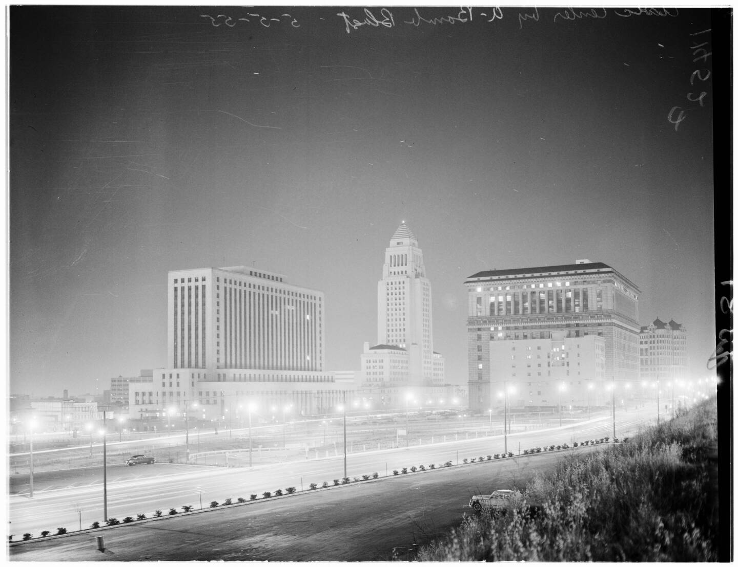 Los Angeles Civic Center buildings by Nevada A Bomb blast, 1955
