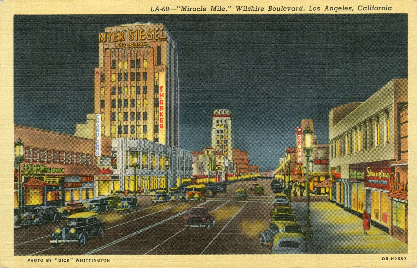 1940 postcard of Wilshire Boulevard's Miracle Mile district. Courtesy of the Werner von Boltenstern Postcard Collection, Department of Archives and Special Collections, Loyola Marymount University Library.