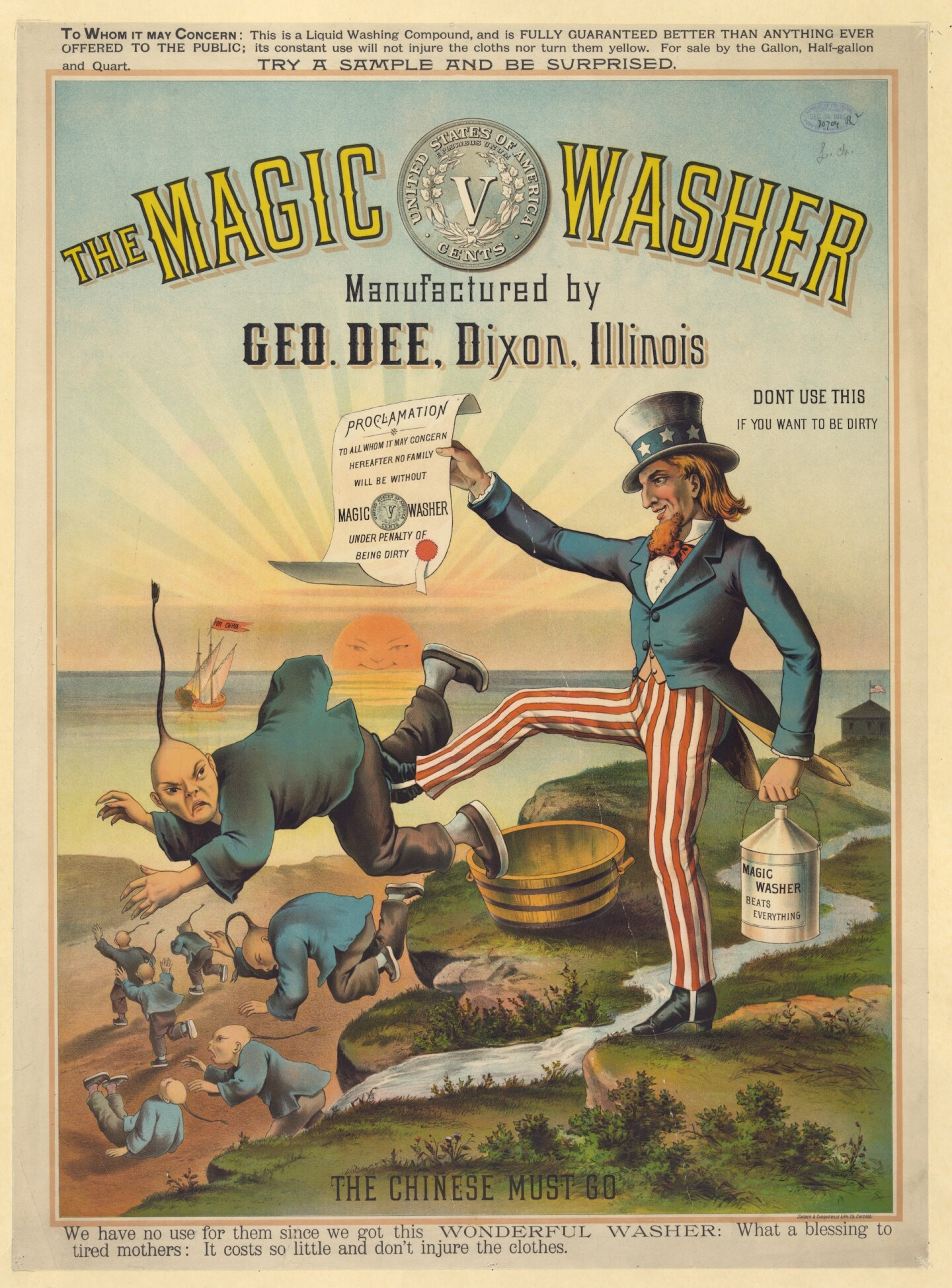 The magic washer, manufactured by Geo. Dee, Dixon, Illinois. The Chinese must go