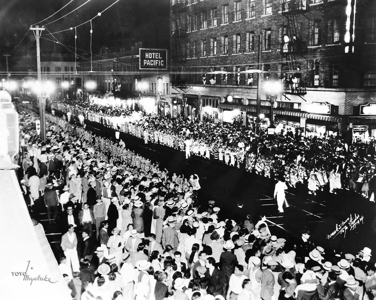 The 1934 Nisei Week Parade   Courtesy of Toyo Miyatake Studio