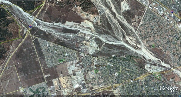 November 11th, 2003: The confluence of Lytle (left) and Cajon (right) creeks in San Bernardino
