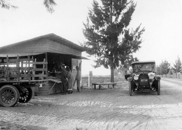 Walter and Cordelia Knott's original roadside berry stand, circa 1926. Courtesy of the Orange County Archives.