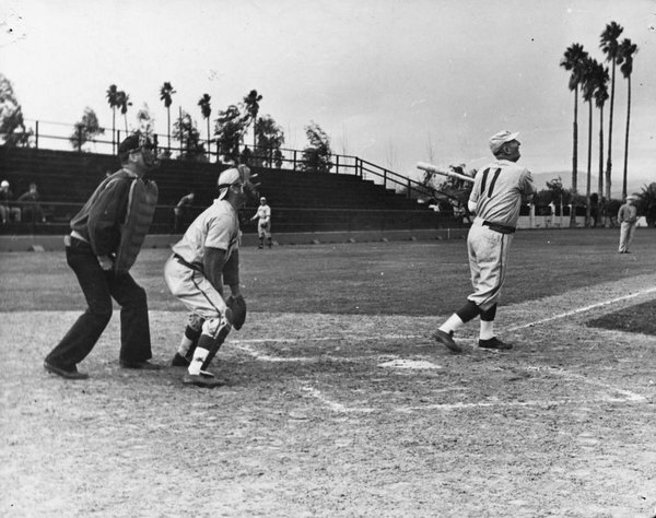Anaheim police chief James Bouldin bats for the Pittsburgh Pirates in an exhibition game against the Philadelphia Athletics at Anaheim's La Palma Park, circa 1940. Courtesy of the Anaheim Public Library.