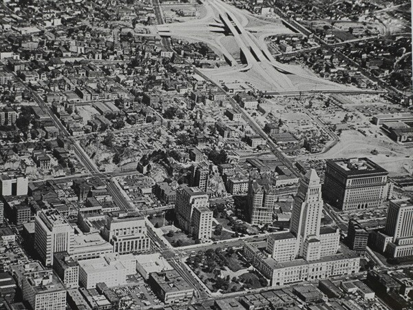 The Four-Level interchange takes shape behind City Hall, ca.1948. Courtesy of the Watson Family Photographic Archive.
