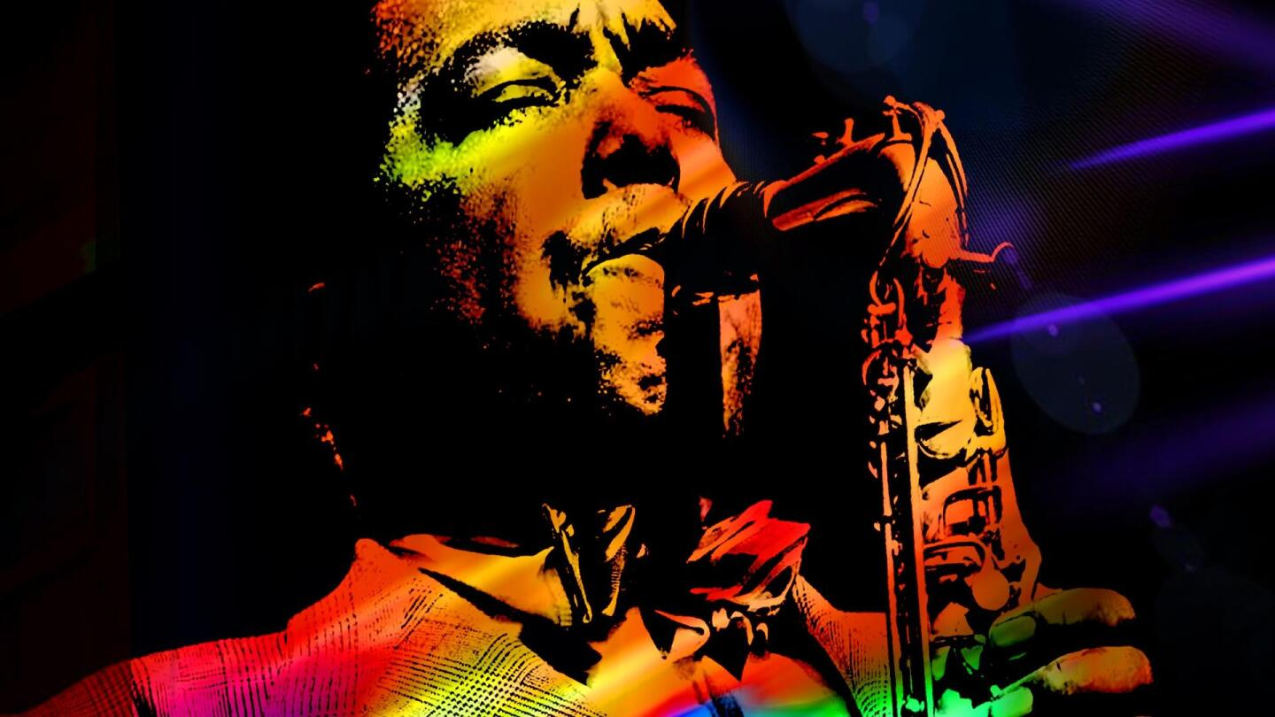 """Graphic of Charlie """"Bird"""" Parker performing with his saxophone."""