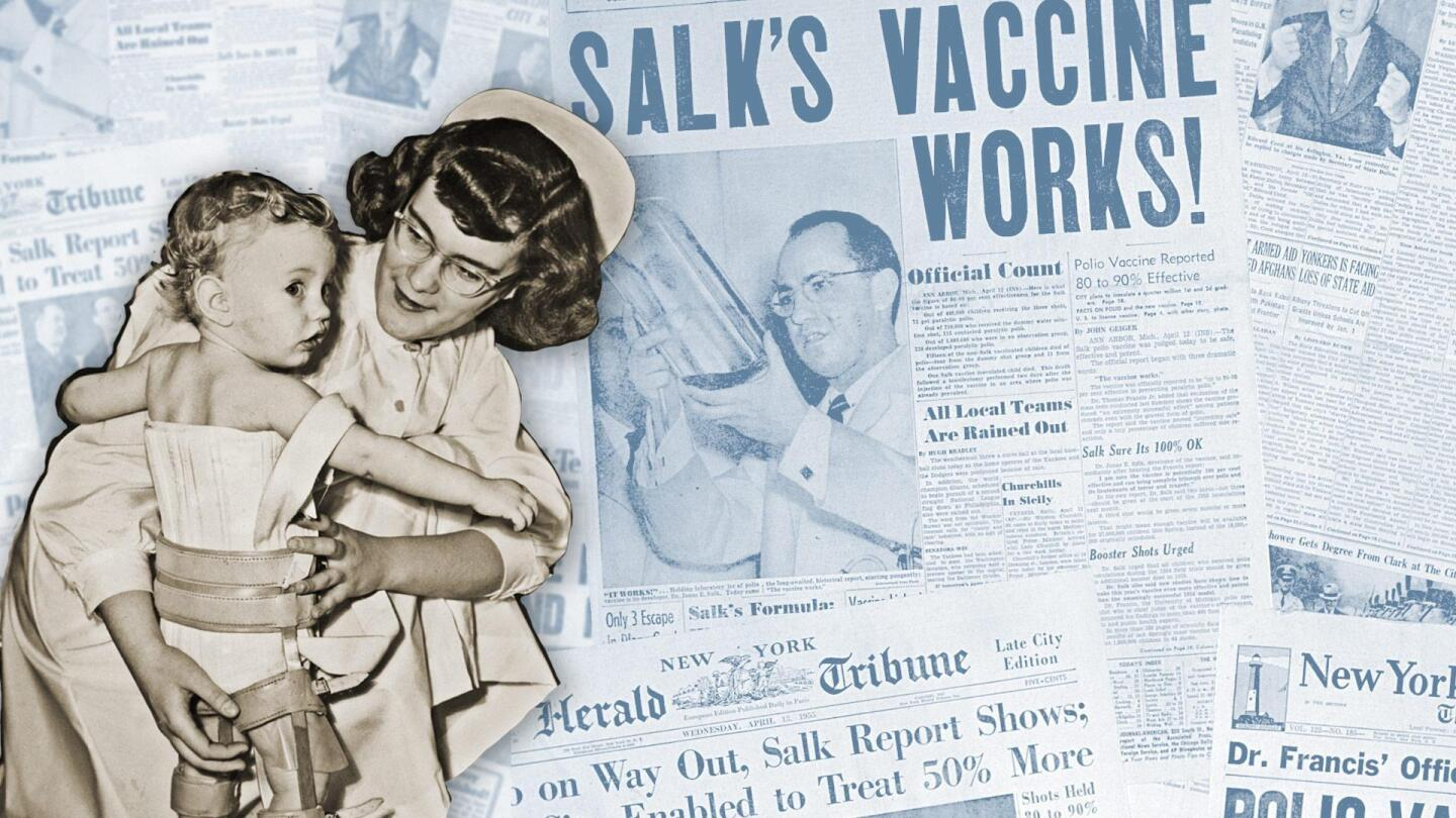 "A composited image of a nurse holding a child against a background of newspaper headlines regarding polio. | From ""Polio Crusade: American Experience"""