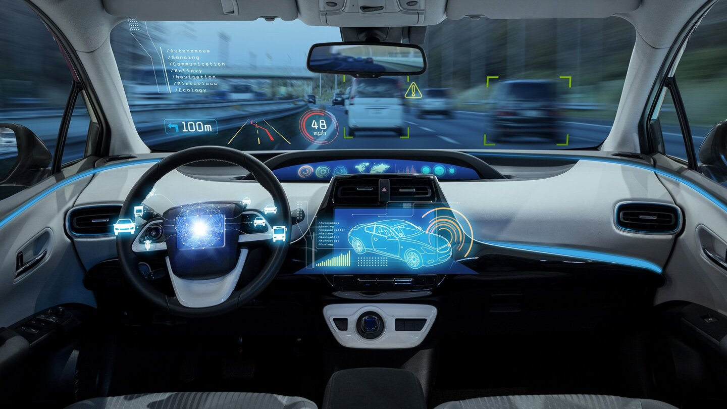 Inside a self-driving vehicle.