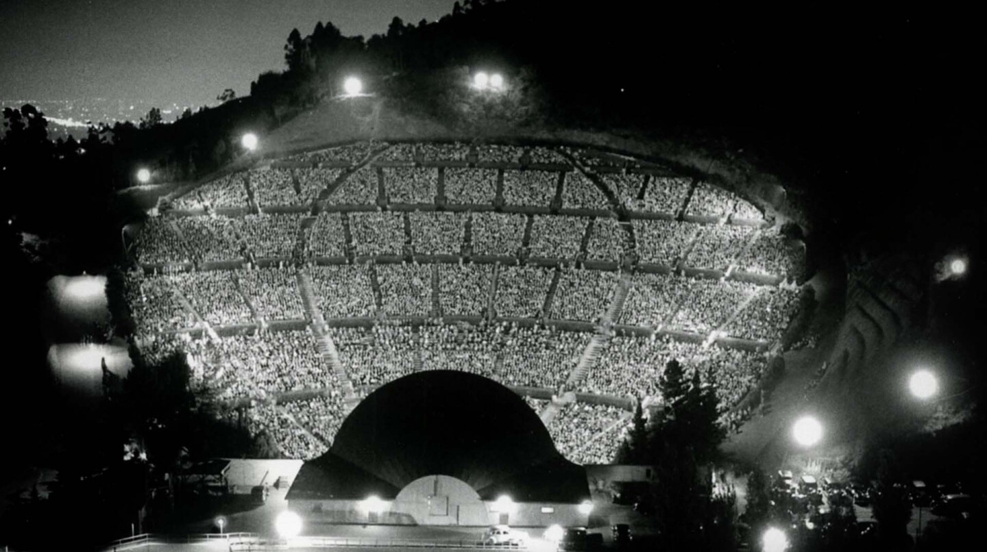 Night view of audience from behind the Hollywood Bowl shell in shadows during Lily Pons concert, circa 1941 | Hollywood Bowl archival photographs by Otto Rothschild. Used by Permission of The Music Center Archives. Gift of the Rothschild Family.