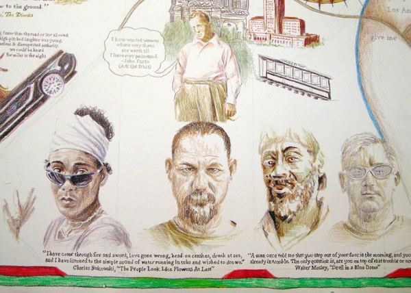 Bunker Hill as writers row, including Mosley, Fante, and Bukowski.