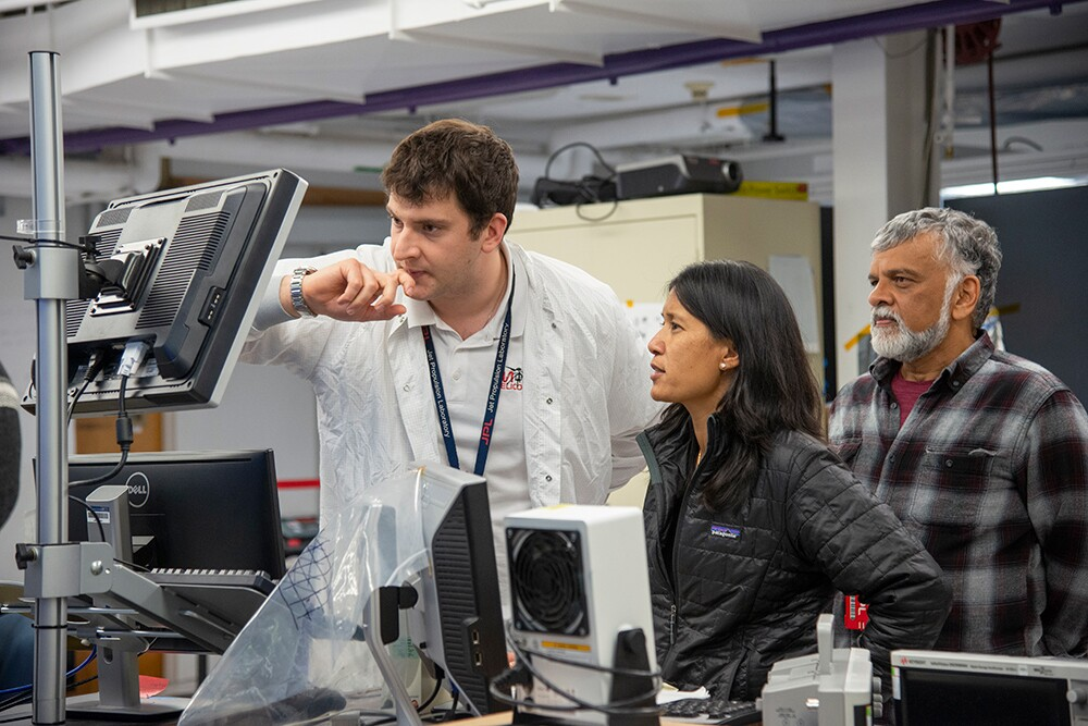 Teddy Tzanetos, MiMi Aung and Bob Balaram of NASA's Mars Helicopter project observe a flight test on January 18, 2019. | NASA/JPL-Caltech