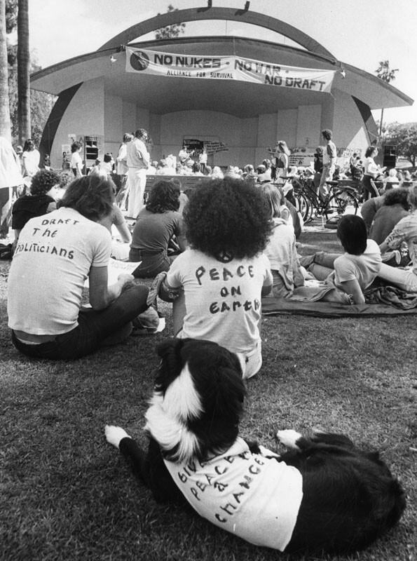 The marches and rallies continued at MacArthur Park, including this one organized by the Alliance for Survival, an environmental organization opposed to nuclear weapons and nuclear power. Photograph dated March 23, 1980.