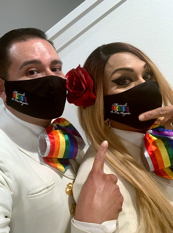 Natalia Melendez and Carlos Samaniego wear face masks. | Courtesy of Carlos Samaniego