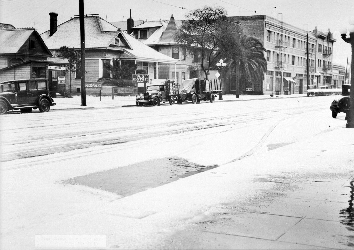 Snow on L.A.'s Pico Boulevard, looking east from Union in 1930