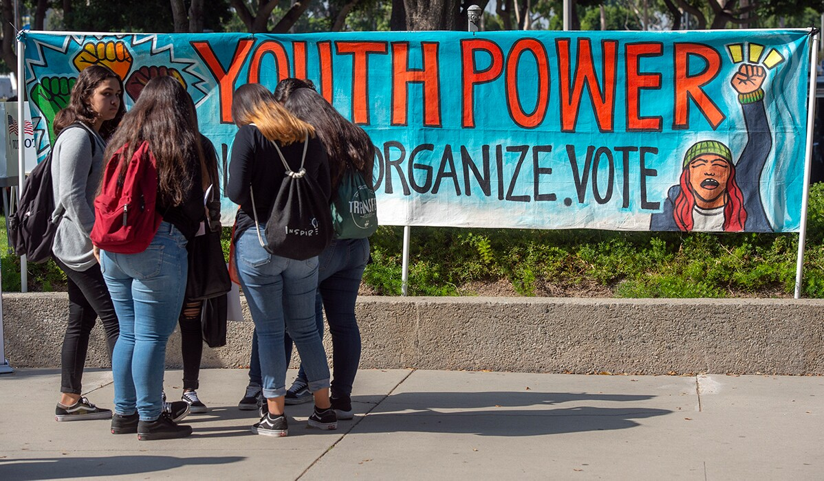 Youth Power posters motivate high school students to vote during the Power California event in Norwalk on Wednesday, October 24, 2018. | Mindy Schauer/Digital First Media/Orange County Register via Getty Images