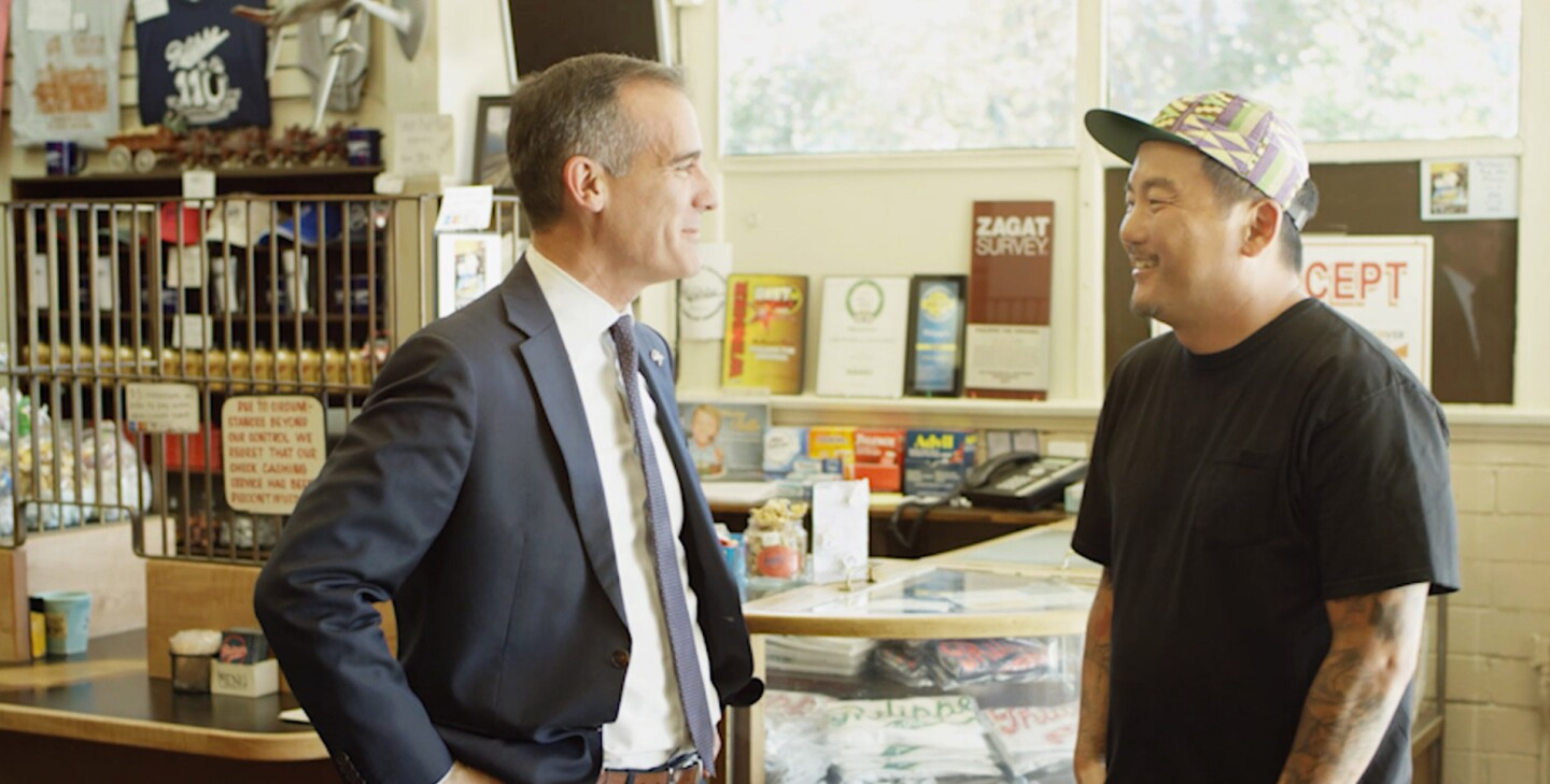 """In the episode """"Transformation"""" Roy Choi and L.A. Mayor Eric Garcetti discuss workforce models with a purpose over French dip sanwiches at iconic L.A. restaurant Phillipes."""