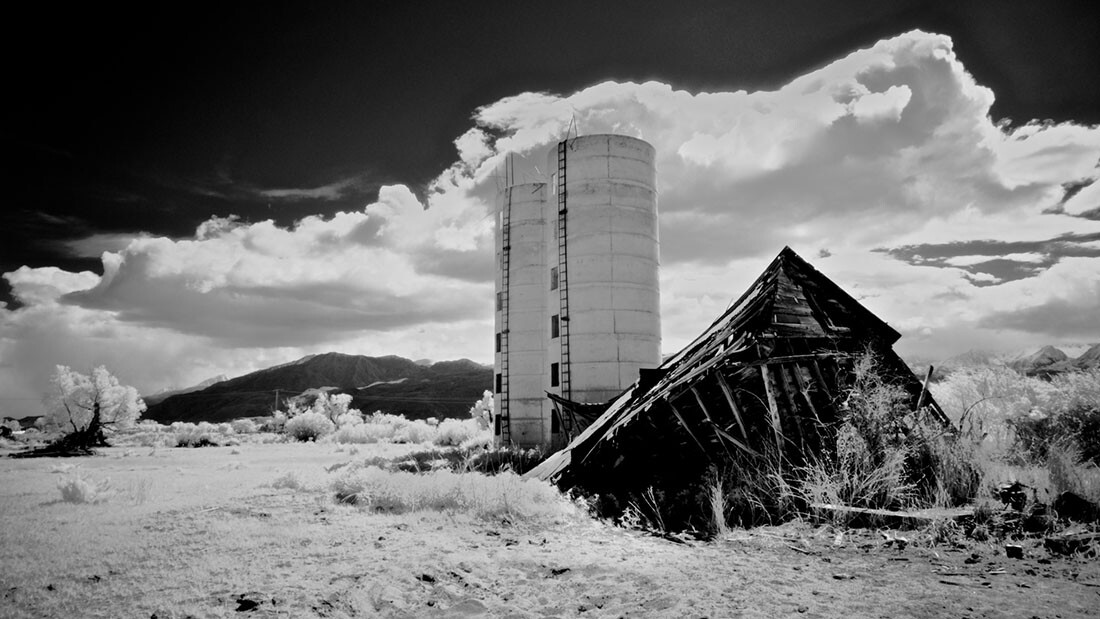 Twin Silos and Collapsed Farm Building - Infrared Exposure- Bishop, CA -2016   Osceola Refetoff