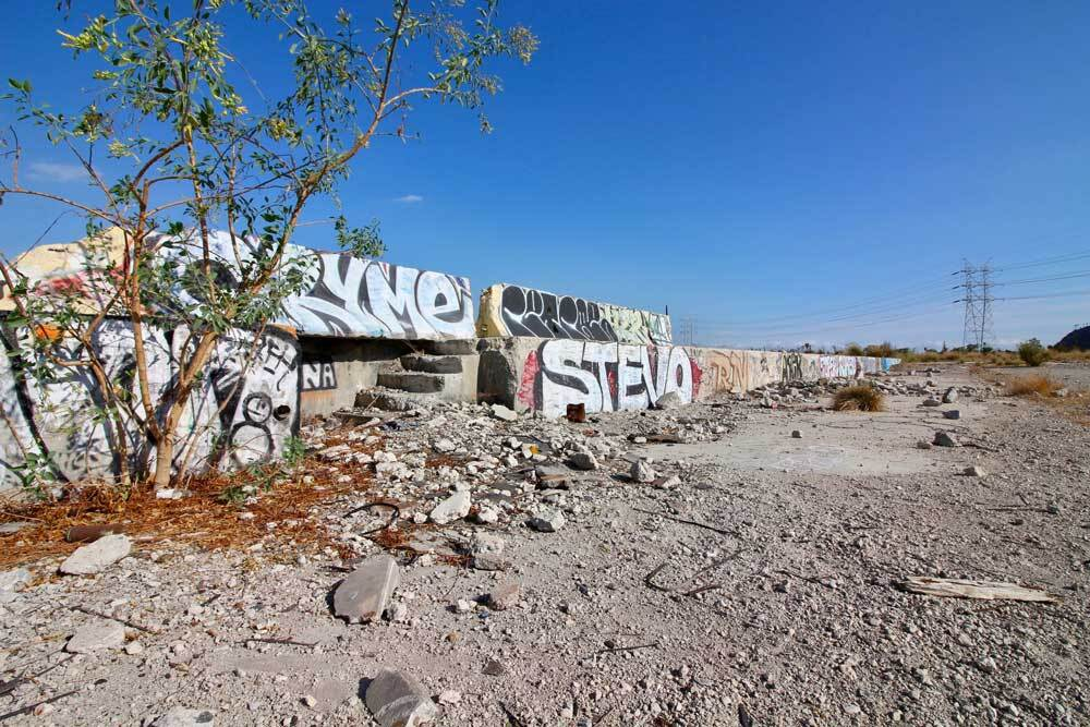 Signs of visitors at Taylor Yard include graffiti. | Courtney Cecale