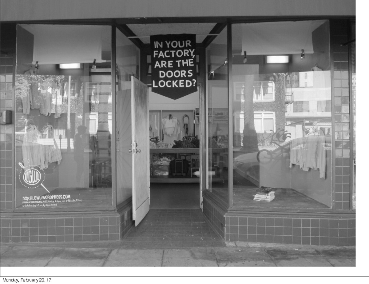 Institute 4 Labor Generosity Workers & Uniforms. Store front view. 2015   Carole Frances Lung