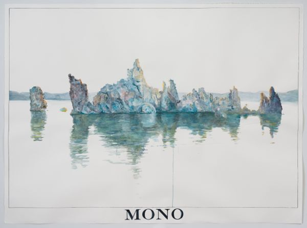 """South Tufa, Mono Lake at 7:12 AM, June 18th, 2013."" Watercolor, gouache, and ink on paper 71"" x 96"" 