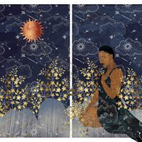 """Carla Jay Harris """"Sphinx,"""" 2019. Archival pigment print. Two panels, 40 x 30 in. each. The work features a beautiful Black woman wearing a dark blue dress kneeling down in a golden meadow under a starry sky and bright orange sun. 