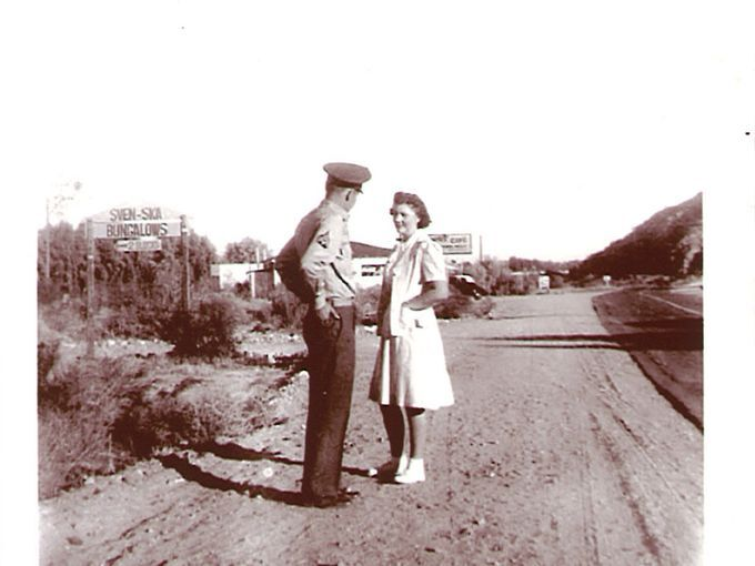 Sven-Ska sign to left, Main Street, Cathedral City, 1942   Courtesy of Cathedral City Historical Society.