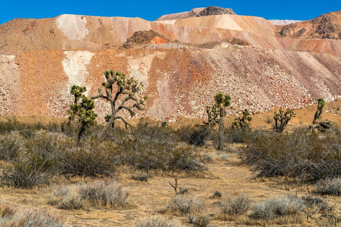 A section of multicolored waste tailings from the Gold Queen Mine, Mojave, California.   Kim Stringfellow.