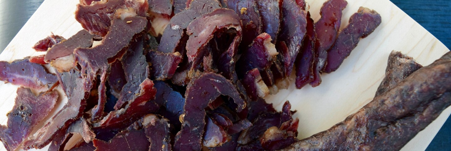 Shredded biltong (left) and droëwors (right) from European Deluxe Sausage Kitchen | Danny Jensen
