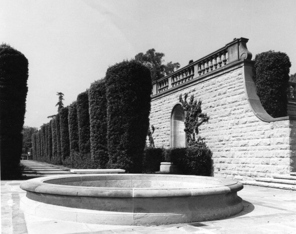 'Cyprus Lane' at Greystone, ca. 1928   Security Pacific National Bank Collection, Los Angeles Public Library