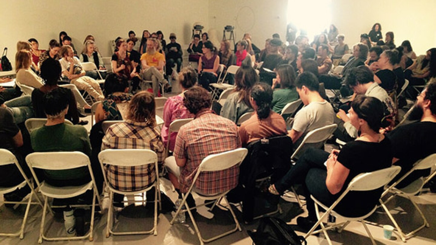 Large group discussion during Pivoting: Ethics And Aesthetics during Chats About Change event at LACE (Los Angeles Contemporary Exhibitions), 1/17/15. | Photograph: Emily Lacy.