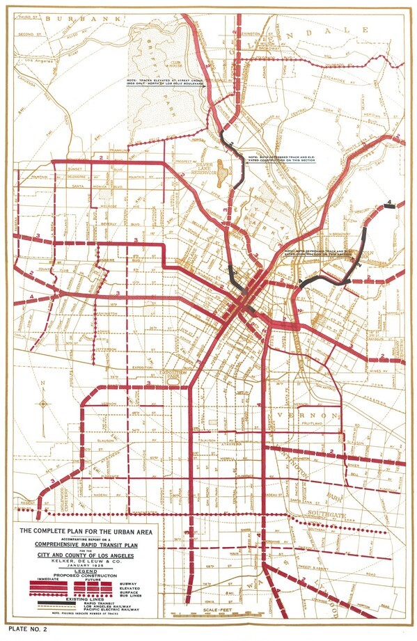 Many of the Pacific Electric rail lines would have been converted into subways or elevated lines. Courtesy of the Metro Transportation Library and Archive.